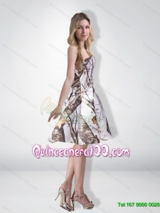 Elegant Multi Color Strapless Knee Length Camo New Style Dama Dresses