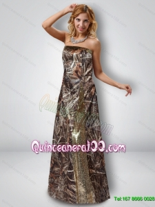 Exquisite Column Strapless Camo New Style Dama Dresses with Sequins
