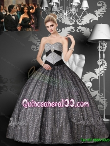2015 Discount Sweetheart Sequined and Tulle Appliques Quinceanera Dresses in Grey