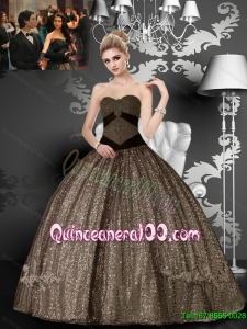 Elegant Sweetheart Floor Length Brown Appliques Quinceanera Dresses for 2015