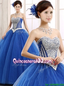 Elegant Beaded Bodice Really Puffy Sweet 16 Dress in Blue