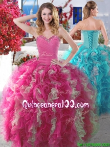 New Arrivals Beaded and Ruffled Quinceanera Gown in Hot Pink and Champagne