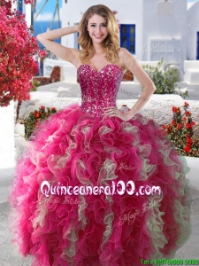 Visible Boning Beaded and Ruffled Quinceanera Dress in Hot Pink