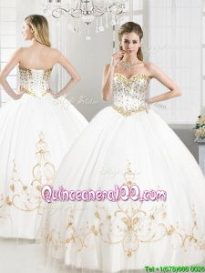 Elegant Beaded and Applique Tulle Sweet 16 Dress in White
