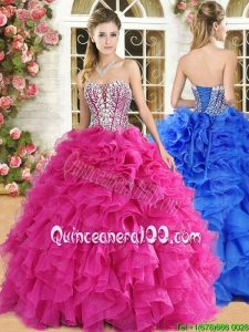 Gorgeous Strapless Beaded and Ruffled Quinceanera Dress in Hot Pink