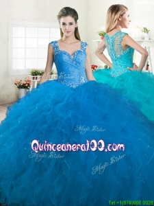 New Arrivals Straps Tulle Quinceanera Dress with Beading and Ruffles