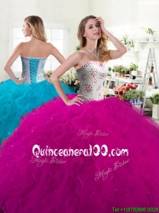 Unique Fuchsia Tulle Quinceanera Dress with Beading and Ruffles