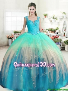 Latest Straps Beaded and Ruffled Quinceanera Dress in Rainbow