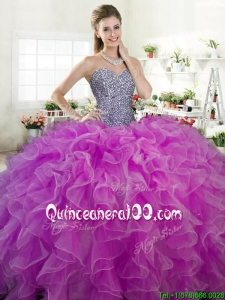 New Arrivals Beaded Bodice and Ruffled Quinceanera Dress in Organza
