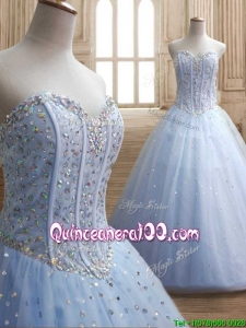 New Style Beaded Bodice Tulle Quinceanera Dress in Light Blue