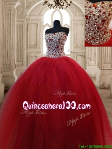 Hot Sale Beaded Bodice Sweet 16 Dress in Wine Red
