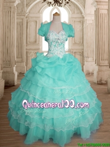 Comfortable Beaded and Ruffled Layers Sweet 16 Dress in Organza