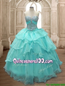 Discount Beaded and Ruffled Layers Quinceanera Dress in Aqua Blue for Spring