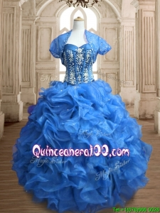 Discount Big Puffy Organza Quinceanera Dress with Beading and Ruffles