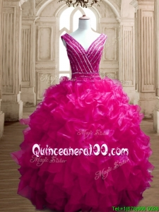 Gorgeous Deep V Neckline Beading and Ruffles Quinceanera Dress in Fuchsia
