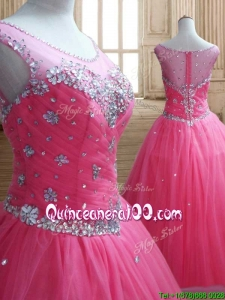 See Through Scoop Rose Pink Quinceanera Dress with Beading