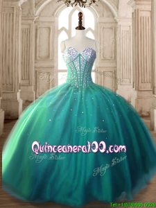 Visible Boning Beaded Bodice Tulle Quinceanera Dress in Turquoise