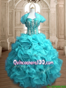 Popular Beaded and Ruffled Organza Quinceanera Dress in Teal