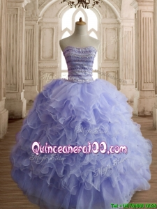 Best Selling Beaded and Ruffled Sweet 16 Dress in Lilac