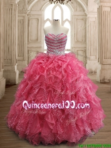 Fashionable Beaded and Ruffled Coral Red Quinceanera Dress in Organza
