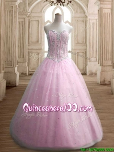 Most Popular A Line Baby Pink Sweet 16 Dress with Beading
