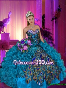 Decent Beaded and Ruffles Sweetheart Peacock Quinceanera Dresses for 2015 Summer