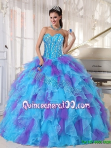 2015 Summer Sweetheart Quinceanera Dresses with Beading and Ruffles