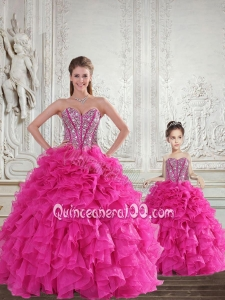 Hot Pink Sweetheart Princesita Dress with Beading and Ruffles