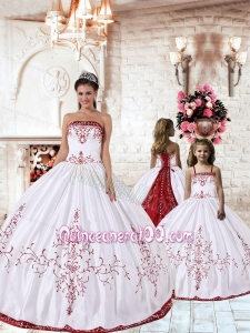 White Strapless Princesita Dress with Red Embroidery