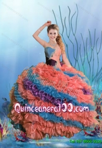 2015 Summer Classical Multi Color Sweet 15 Dresses with Beading and Ruffles