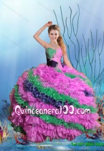 2015 Summer Comfortable Quinceanera Dresses with Beading and Ruffles