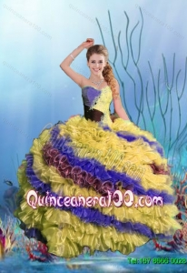 2015 Summer Discount Multi Color Beaded Quinceanera Dresses with Ruffles