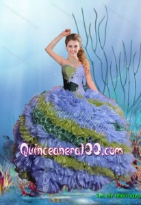2015 Summer Exclusive Sweetheart Quinceanera Dresses with Beading and Ruffles