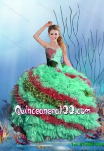 2015 Summer Perfect Beaded Sweet 15 Dresses with Ruffles in Multi Color