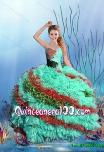 2015 Summer Simple Sweet 15 Dresses with Beading and Ruffles in Multi Color