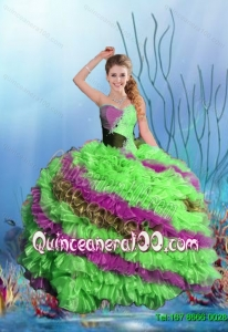 Popular 2015 Summer Multi Color Quinceanera Dresses with Beading and Ruffles