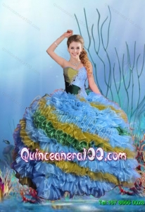 Romantic Multi Color Beaded Sweet 15 Dresses with Ruffles for 2015 Summer