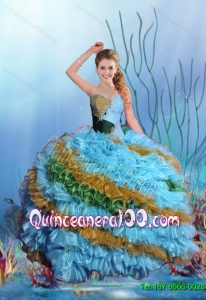 Summer 2015 Sweetheart Ball Gown Luxurious Sweet 15 Dresses with Beading and Ruffles