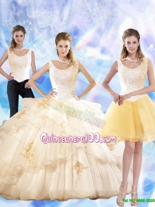 2015 Summer Beautiful Appliques and Beaded Quinceanera Dresses in Champagne