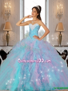 2015 Summer Luxurious Beaded and Ruffles Quinceanera Dresses in Multi Color