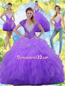 2015 Summer Prefect Ball Gown Quinceanera Dresses with Beading and Ruffles