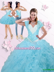 2015 Summer Prefect Beaded and Ruffles Quinceanera Dresses in Blue