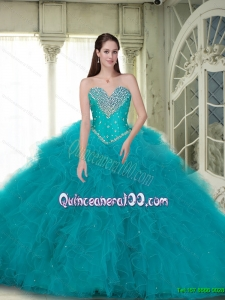 Elegant 2015 Summer Ball Gown Quinceanera Dresses with Beading and Ruffles in Turquoise