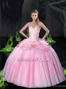 Luxurious Sweetheart Bowknot Quinceanera Dresses with Beading in Pink for 2015 Summer