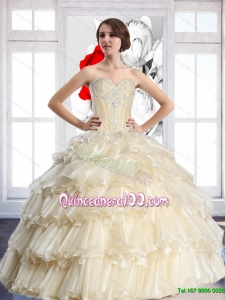 New Arrival 2015 Summer Champagne Sweetheart Quinceanera Dresses with Beading and Ruffled Layers