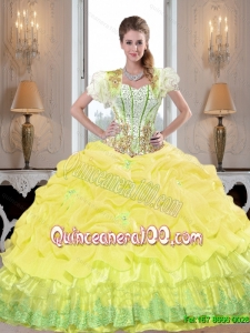 New Style Yellow 2015 Summer Quinceanera Dresses with Beading and Pick Ups