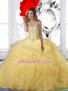 Prefect 2015 Summer Ball Gown Yellow Quinceanera Dresses with Beading