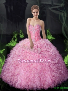 Top Seller 2015 Summer Ball Gown Beaded and Ruffles Quinceanera Dresses