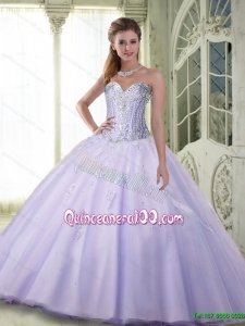 Top Seller Beaded Sweetheart Quinceanera Dresses in Lavender for 2015 Summer