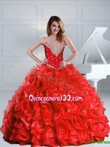 2015 Luxurious and Most Popular Beaded and Ruffles Quinceanera Dresses in Red